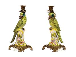 Set Porcelain Parrot Candle Holders Vintage Porcelain with Bronze *Free Air - $399.00