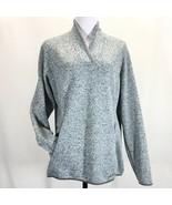 Eddie Bauer Fleece Sweater Pullover Womans 2XL Shawl Collar Pockets Blue... - $38.65