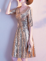 Knee Length Gold Sequin Dress Half Sleeve Sequin Gold Dress Wedding Guest Dress image 5