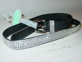 Maurices Black Rhinestone Belt Bling Silver Buckle-L-NEW - $13.81