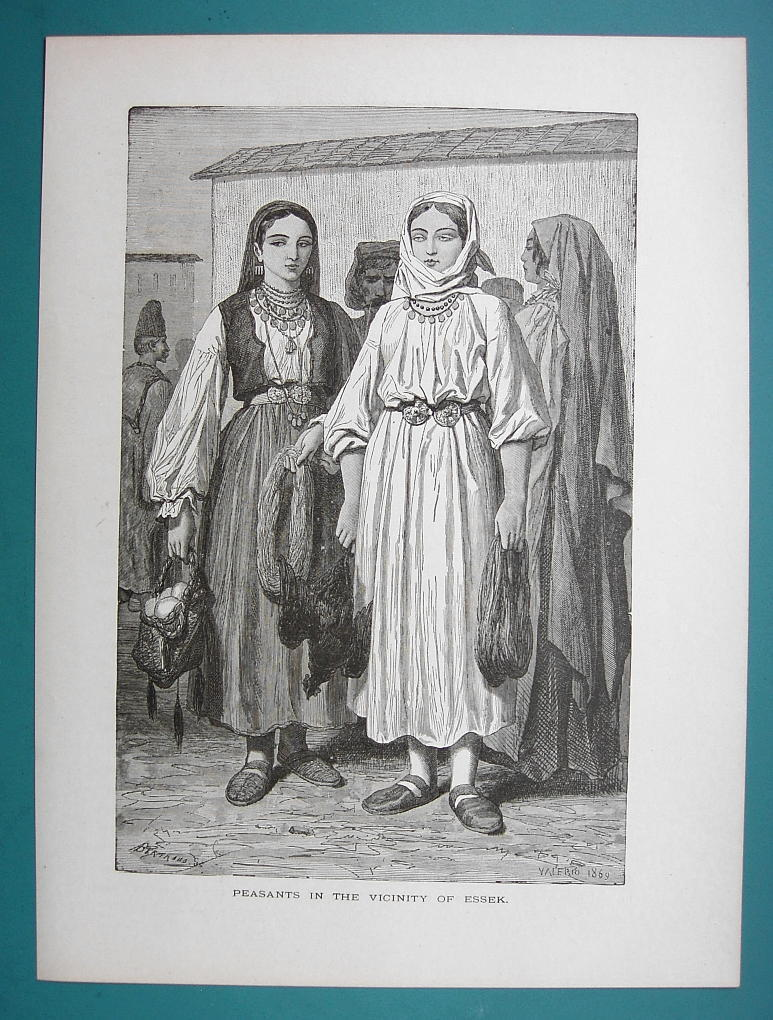 HUNGARY Peasant Girls from Essek Costume   - 1877 Wood Engraving Illustration