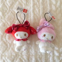 My Melody Fancy Print Plush Mascot Keychain 2 Set Red Pink Sanrio 8cm - $48.06