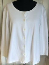 Ralph Lauren White Cardigan 3/4 Sleeve Stretch Sweater Women's L - $24.74