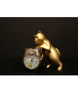 "Brass Elgin Novelty Clock : ""Cat with His Paw in Fish Bowl"" - $6.90"