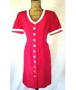 Shomi womens M 8 pettie red ivory trim 100% silk pocket sheath shirt dre... - $0.99