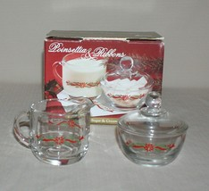 Anchor Hocking Poinsettia & Ribbons Christmas Sugar Bowl w/ Lid & Creame... - $12.82