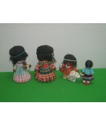 Set of 4 Southwestern Cloth Native American Dolls with Beads Black Hair - $23.33