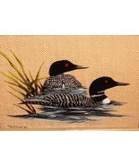 VTG HAND CARVED PAINTED LOON REVERSE GLASS OIL INK FRAMED PAINTING SIGNE... - $397.99
