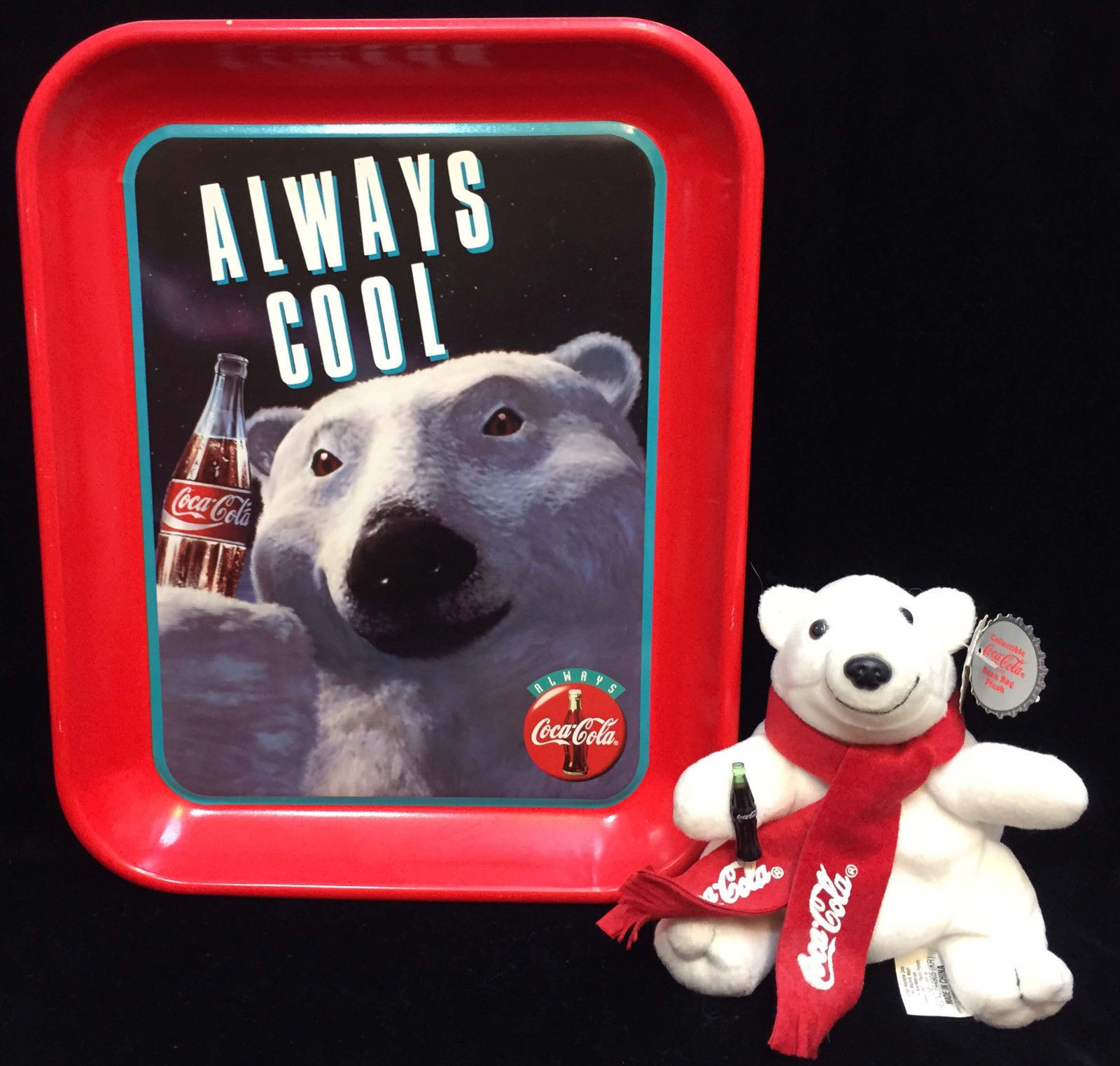 Primary image for Coca Cola Coke Tin Serving Tray Metal Always Cool Polar Bear w/ Plush Toy Lot 2