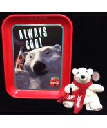 Coca Cola Coke Tin Serving Tray Metal Always Cool Polar Bear w/ Plush To... - $12.86