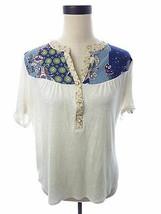 Womens Faith & Joy Beige Ivory Floral Print Boho Cute Top S - $18.00