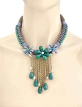 Vintage Inspired Green & Gray Statement Flower Fringe Bib Necklace Earri... - $18.05