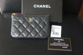 NEW Chanel Black Caviar Leather Small O Case Wallet Cardholder Pouch - $600.00