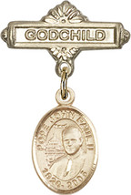 14K Gold Baby Badge with St. John Paul II Charm Pin 1 X 5/8 inch - $425.00