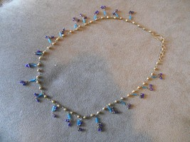 Old Vintage or Antique Tassle Drop Blue Bead Beaded Necklace Dainty Delicate - $39.99