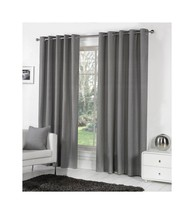 CHARCOAL GREY 100% COTTON 90x54 229x137CM FULLY LINED RING TOP CURTAINS ... - $52.41