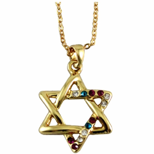 Golden Magen David Star Crystals Rhodium Pendant & Necklace Judaica Kabbalah