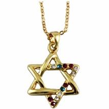Golden Magen David Star Crystals Rhodium Pendant & Necklace Judaica Kabbalah