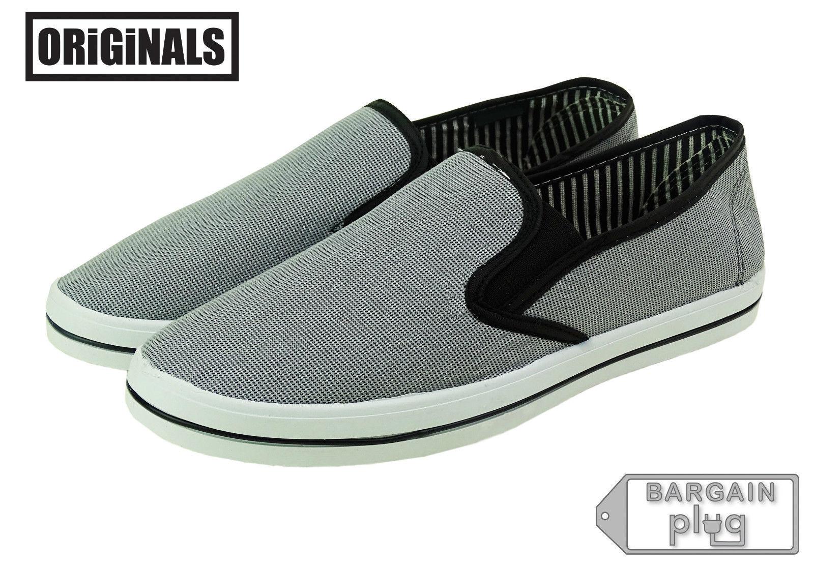 Gray Canvas Shoes Mens Slip On Casual Sneakers Kicks Originals Lowtop Footwear - $13.49