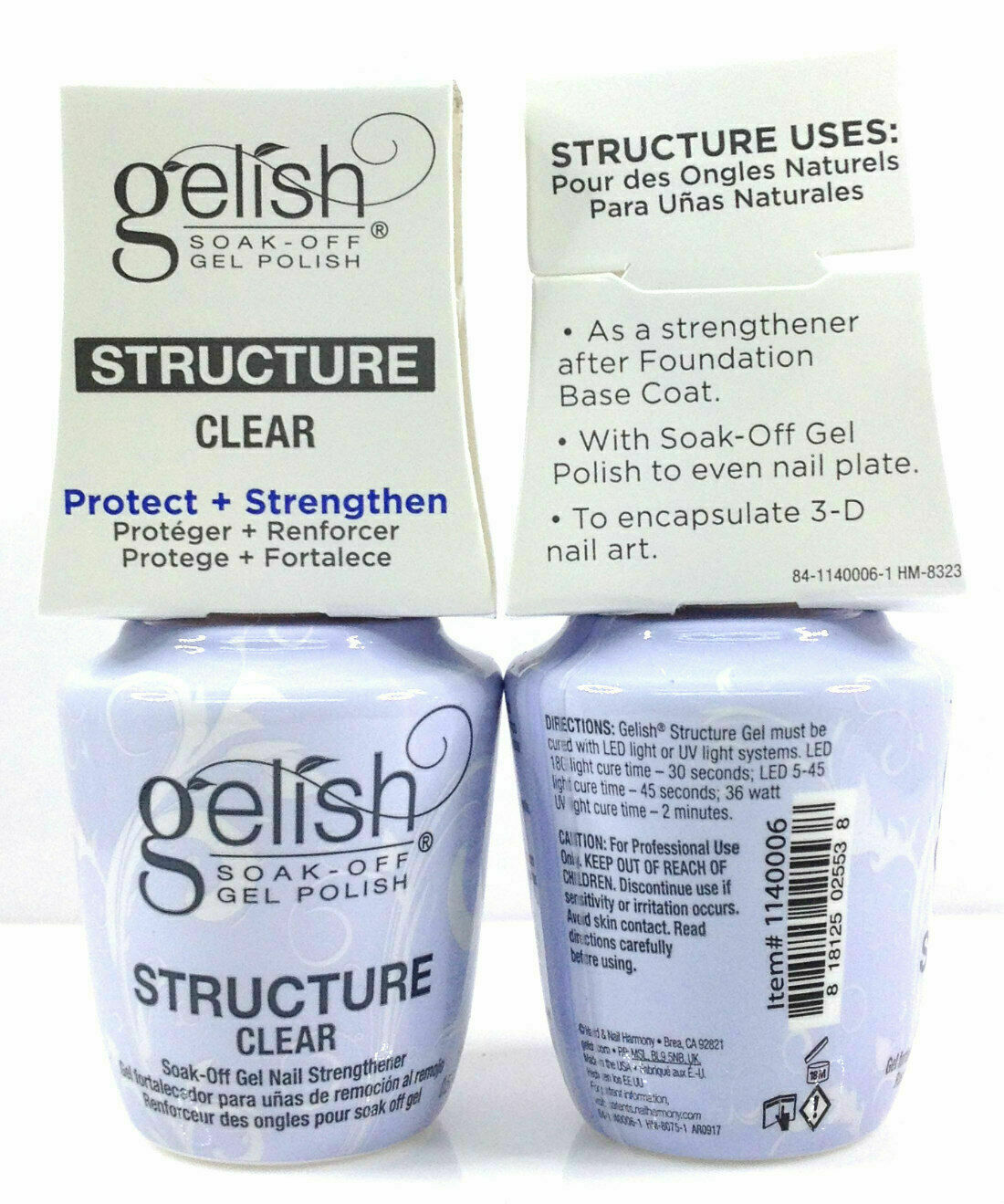 Primary image for Harmony Gelish Soak Off - BRUSH-ON STRUCTURE GEL CLEAR 0.5oz/15ml 2 Bottles