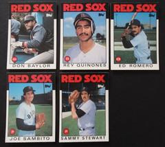 1986 Topps Traded Boston Red Sox Team Set of 5 Baseball Cards Missing Seaver - $3.00