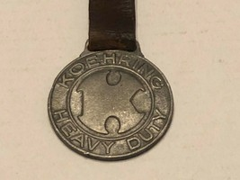 Vintage Watch Fob with Leather Strap - Koehring Heavy Duty - $17.00