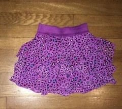 * childrens place purple leopard print ruffle chiffon skirt small 6 - 7 - $5.94