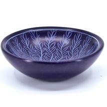 Tabaka Chigware Carved Kisii Soapstone Dark Blue Tree of Life Trinket Bowl Kenya image 3