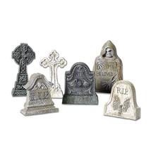 6 Tombstones Halloween Prop Spooky Decoration Haunted House Outdoor Indo... - $15.44