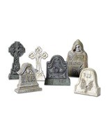 6 Tombstones Halloween Prop Spooky Decoration Haunted House Outdoor Indo... - $15.44
