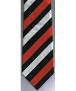 Fabio Fazio Hand Made Necktie Red Black White Stripes 100% Silk - $38.30