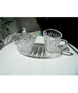 Vintage c 1940's Brilliant Crystal Cream & Sugar Set & Oval Tray - $25.73