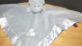 Bearington collection gray silver plush bear rattle security blanket sat... - $23.99