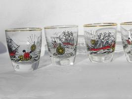 6 Vint Libbey Glass Treasure Island Shot Glasses Sailing Ship, Compass, ... - $17.99