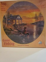 """Gone Fishing by D.L. """"Rusty"""" Rust 19"""" Round 500 Piece Jigsaw Puzzle Suns... - $18.69"""