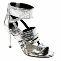 Women's Michael Kors SHILOH OPEN TOE Stiletto Heels Leather Silver Metallic - $99.00