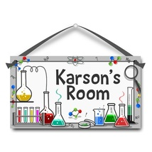 "Science Lab, Chemistry, Kids Door Sign, 5.5"" x 10.5"", Personalized Name... - $13.00"