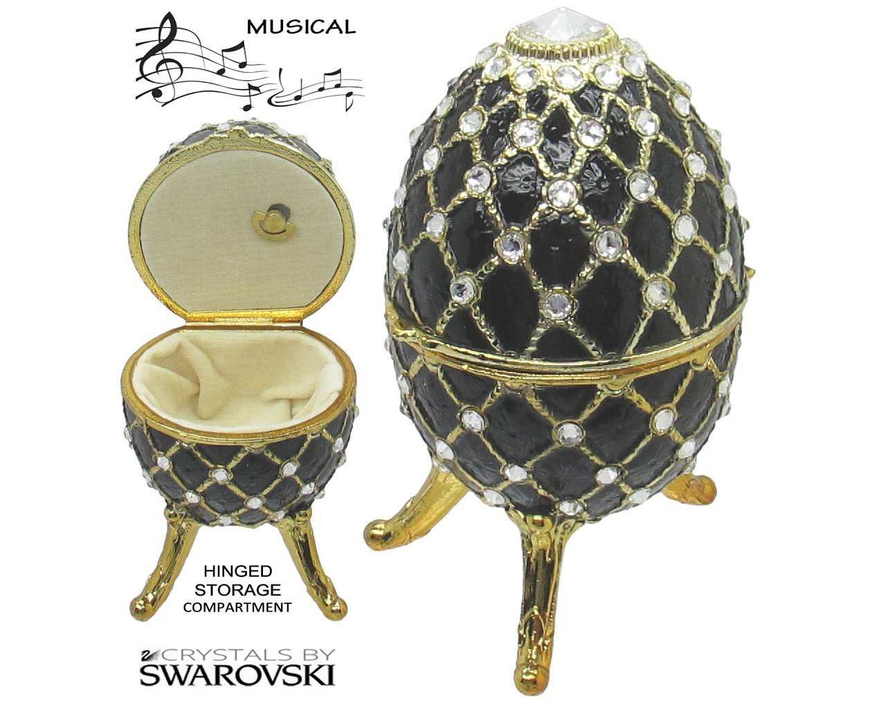 Primary image for Musical Jewelry and Trinket Box with Swarovski Crystals, Gold/Black