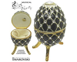 Musical Jewelry and Trinket Box with Swarovski Crystals, Gold/Black - $199.95