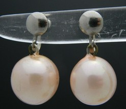 Pink Faux Pearl Silver Tone Screw-On Dangle Earrings Vintage - $13.86