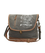 American Eagle Recycled Canvas Large Messenger Bag Army Green/White-Leat... - $47.95