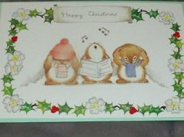 NEW Hallmark ANDREW BROWNSWORD Christmas Card 3 SINGING BUNNIES Carols  - $12.82