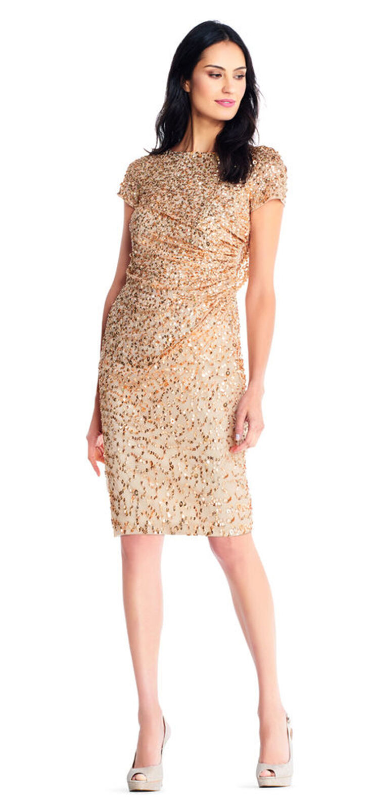 Adrianna Papell Short Sleeve Sequin Beaded Dress Cowl Back, Champagne/Gold, 14P