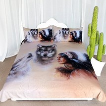 ARIGHTEX Native American Indian Chief Bedding 3 Piece Wolf Bedding Set B... - $56.14