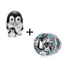 Penguins Rhinestones Colorful Charms European Bead fit Bracelet 2pc - $12.20