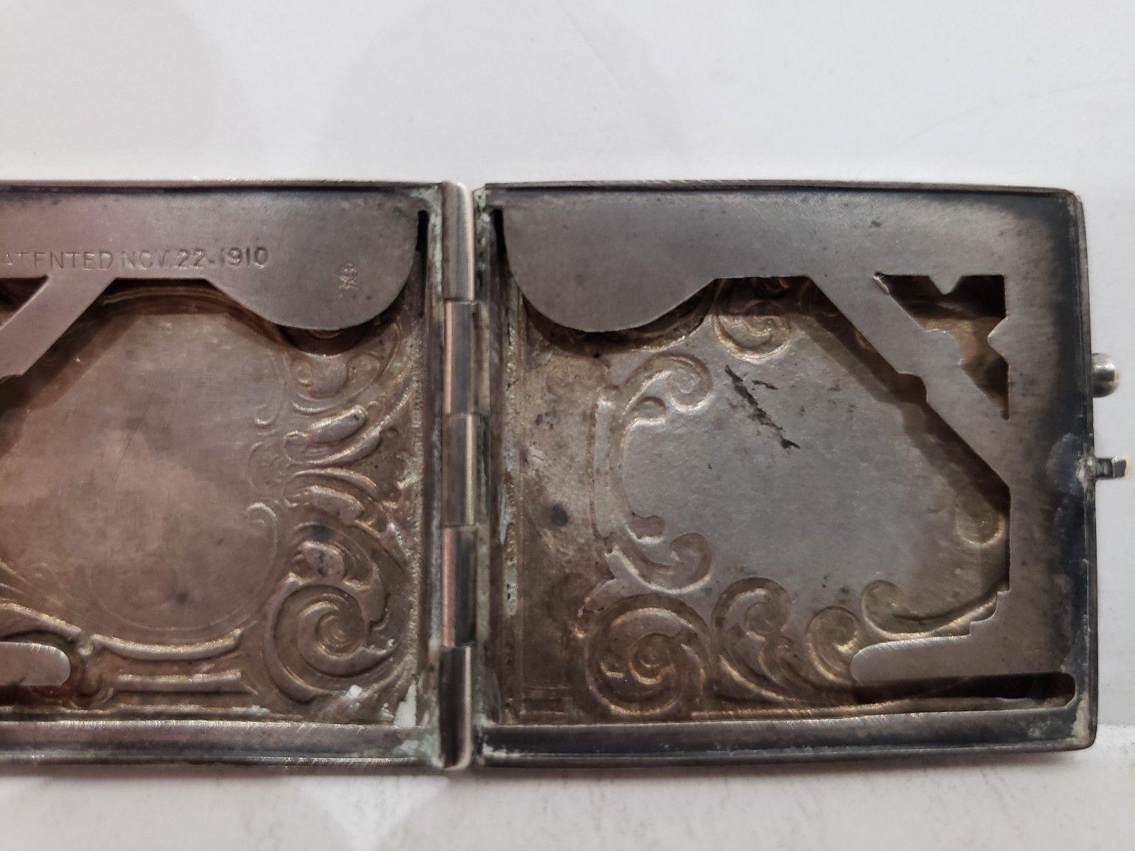 Antique Fraternal Elks BPOE Sterling Silver Card Case / Enameled Plague -1900's image 9