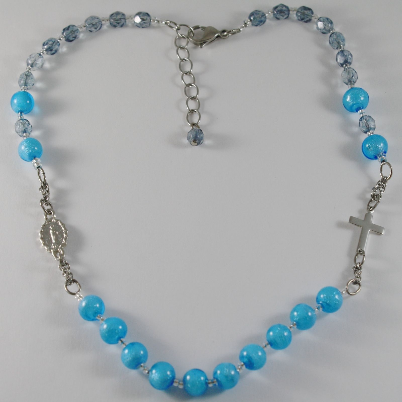 NECKLACE ANTICA MURRINA VENEZIA IN ROSARIO WITH MURANO GLASS BLUE WITH CROSS