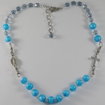 NECKLACE ANTICA MURRINA VENEZIA IN ROSARIO WITH MURANO GLASS BLUE WITH CROSS
