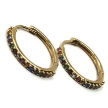 18K ROSE GOLD HOOPS EARRINGS, CUBIC ZIRCONIA MULTI COLOR, 20mm, 0.8 inches image 4