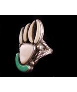Vintage LARGE sterling spirit paw ring - BIG Bear claw - turquoise mothe... - $275.00